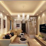 暖色调客厅吊顶图片