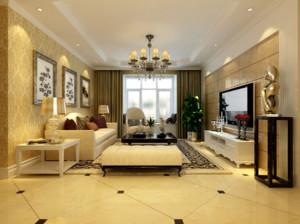 90平米大户型简欧风格客厅吊顶装修效果图