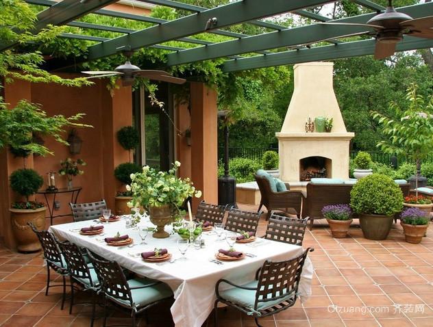 欧式建筑小别墅清新大气露天阳台装修效果图