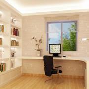 现代简约风格书房整体式书柜装饰