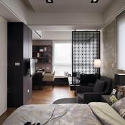 现代40-平米一居室玻璃隔断墙设计图