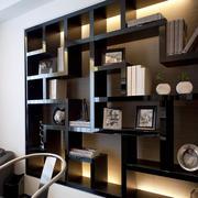 深色简约风格书房书柜装饰