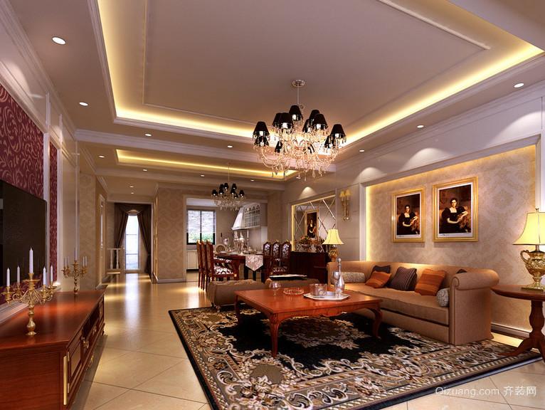 120平米大户型欧式客厅电视背景墙装修效果图