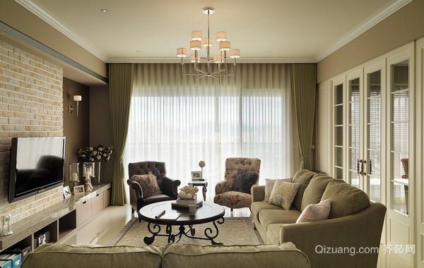 大型美式别墅清新风格客厅装修效果图