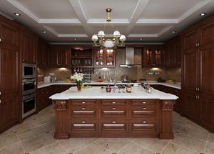 豪华复式楼开放式厨房实木橱柜效果图片
