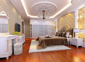 温馨欧式风格卧室软包背景墙装修效果图