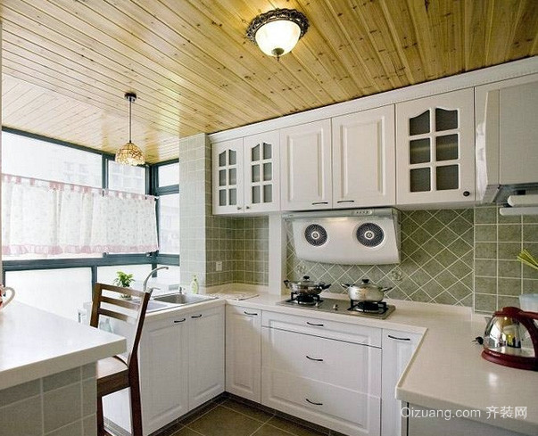 90平米欧式简约风格厨房整体橱柜装修效果图