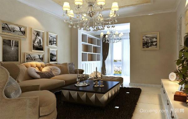 120平米大户型欧式高贵的客厅照片墙装修效果图