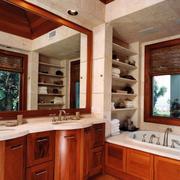 美式别墅卫生间原木浴室柜