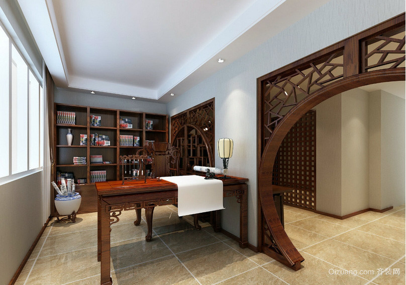 新中式半开放式家居书房装修效果图