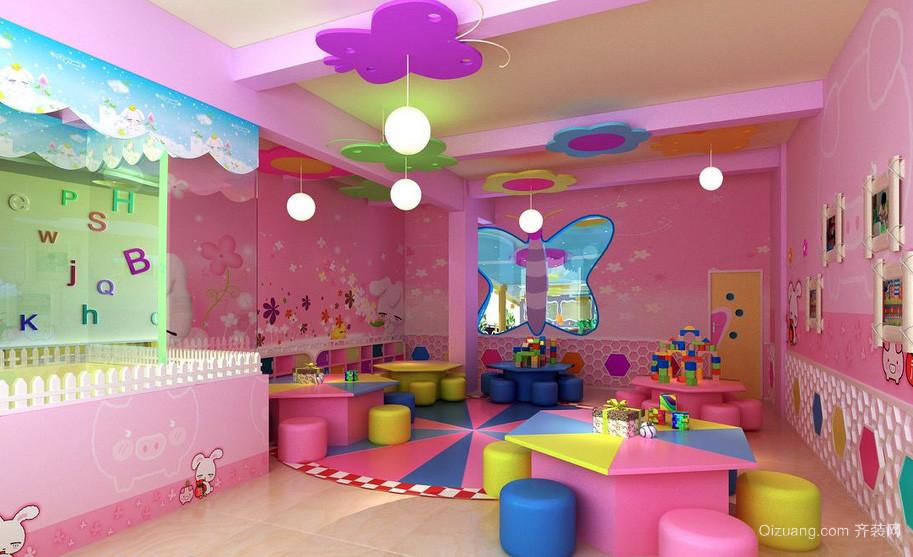 甜美迷人小型幼儿园教室塑胶地垫装修图