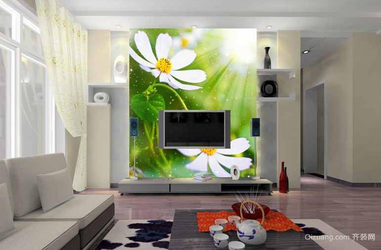别墅色调艳丽壁画设计效果图片