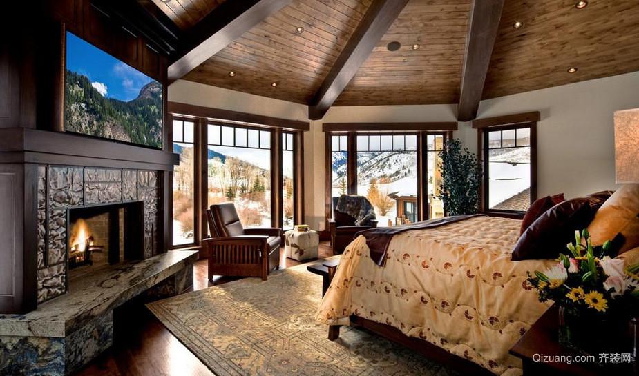 自然美式独栋别墅卧室装修设计效果图