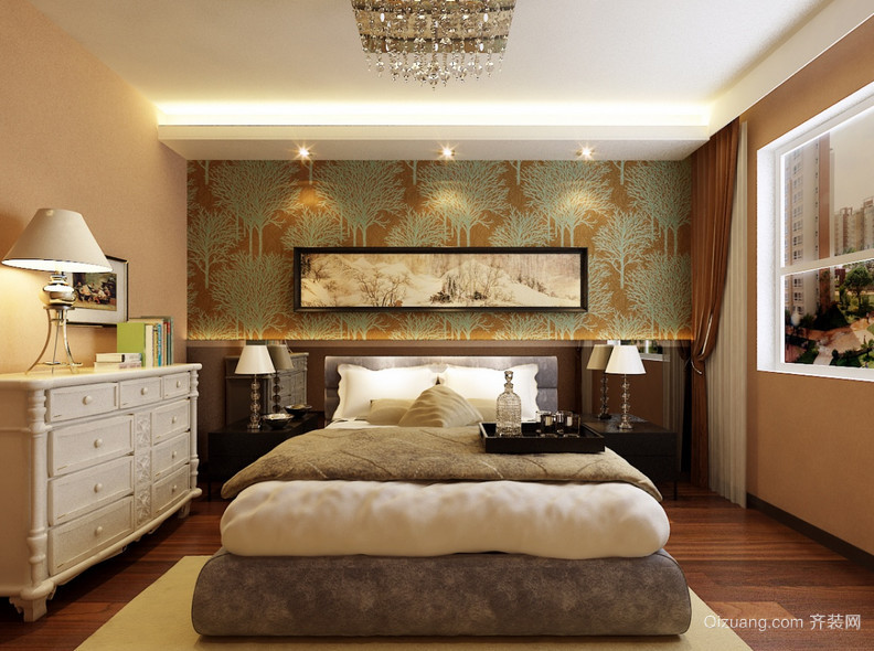 现代欧式精致的复式楼卧室装修效果图