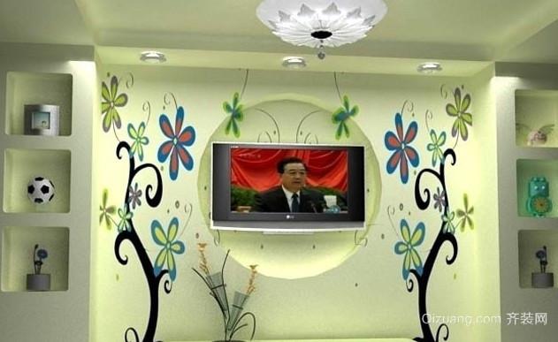 128平米清新风格壁画设计效果图片