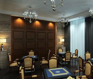 90平米欧式简约风格大型棋牌室装修效果图