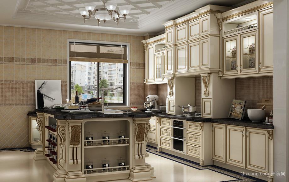 欧式古典复式楼厨房实木橱柜效果图片