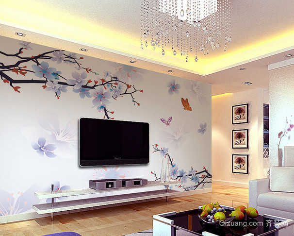 三居室独具特色壁画设计效果图片