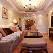 美式风格别墅客厅吊顶装饰