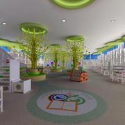 现代明亮幼儿园图书馆塑胶地垫装修图