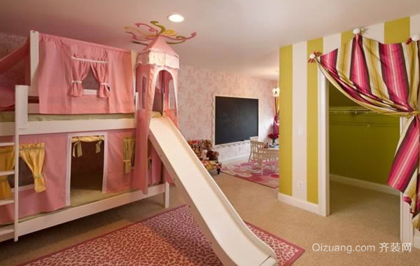 复式楼充满童趣儿童房设计装修效果图