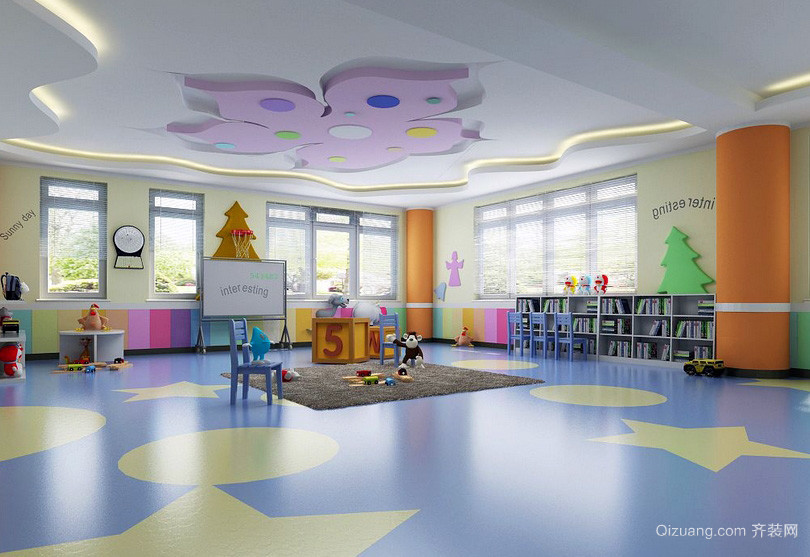 时尚都市大型幼儿园塑胶地垫装修图