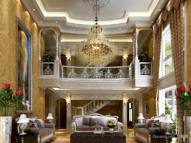 奢华复式楼欧式风格客厅吊灯装修效果图