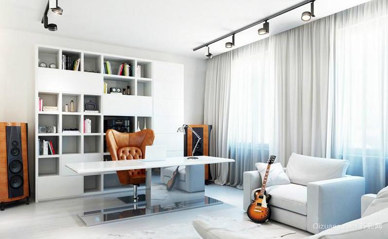 现代跃层住宅卧室开放式书房装修效果图 齐装网装修效果图