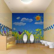 幼儿园清新卫生间背景墙装饰