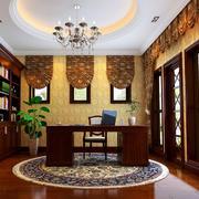 大户型别墅现代美式书房装修设计效果图