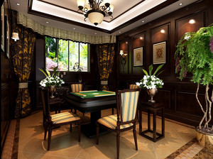 大型别墅奢华欧式棋牌室装修效果图