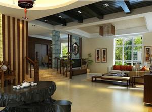 新中式错层别墅客厅装修设计效果图