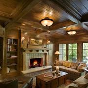 乡村美式小别墅客厅装修效果图