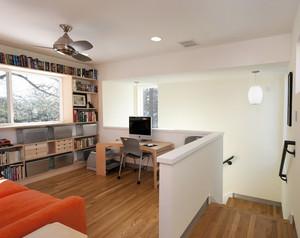 现代跃层住宅卧室开放式书房装修效果图