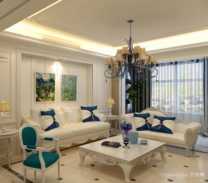 简约欧式风格三居室客厅装修效果图