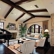 90平米美式乡村风格斜顶阁楼客厅装修图