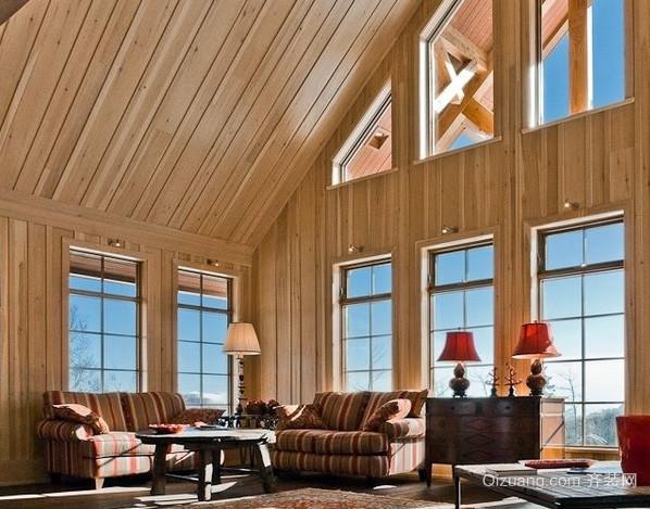 100平米美式简约风格斜顶木屋阁楼客厅装修图