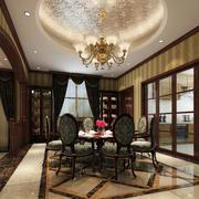 2016大别墅奢华美式餐厅装修效果图
