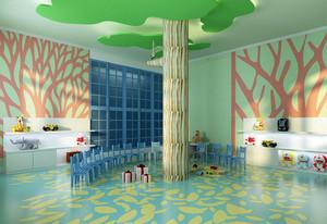 大型现代简约风格幼儿园墙面布置效果图