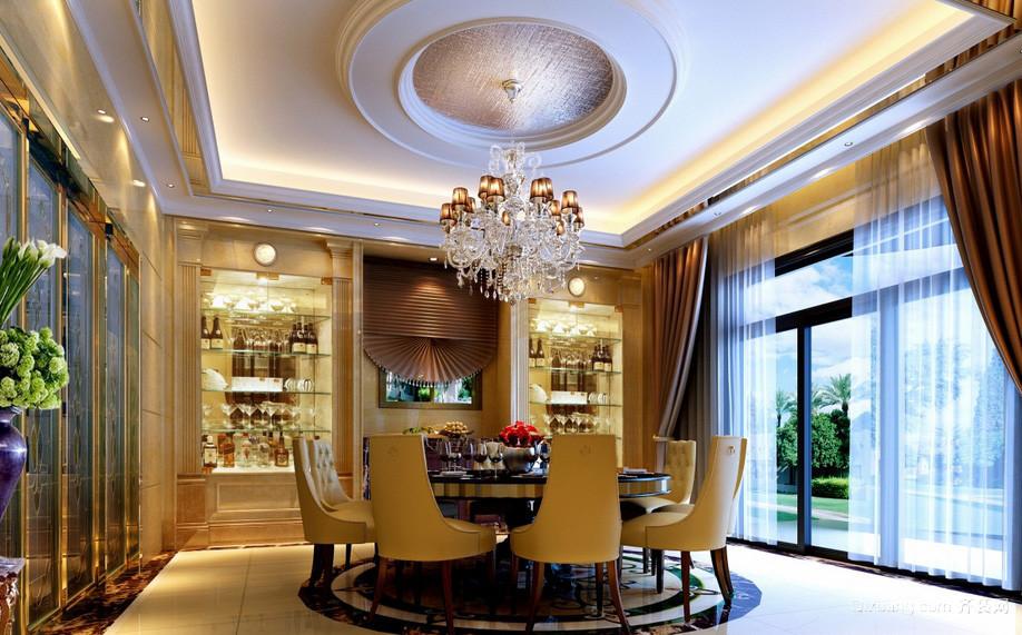 大型独栋别墅欧式风格餐厅装修效果图