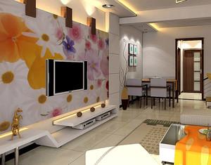 110平米暖色调壁画设计效果图片