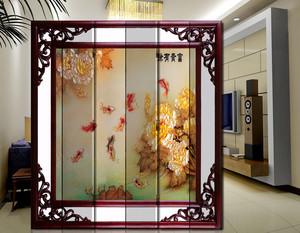 大型复式楼中式简约风格客厅屏风隔断装饰图