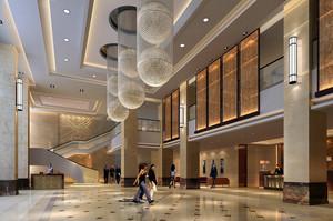 大型商务酒店精致大堂设计效果图