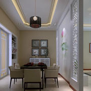 儒雅新中式大户型餐厅屏风隔断设计图