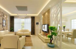 浅色系简约客厅屏风隔断设计效果图