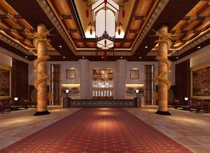 古典中式酒店大堂设计效果图