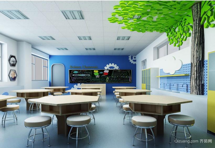 现代前卫小学班级教室桌椅布置图片
