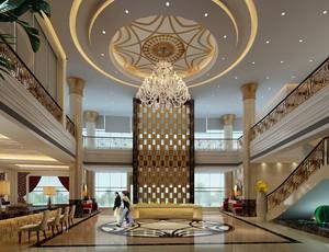 豪华都市酒店大堂屏风隔断设计效果图