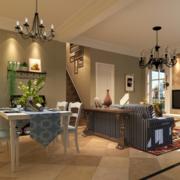 2016精美的大户型美式装修风格样板房客厅效果图