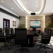 新中式风格25平米会议室装修布置效果图